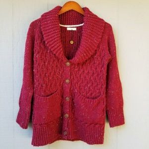 Isabella Sinclair Anthro Burgundy Woven Cardigan M